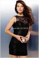 LD031,Free shipping Euro fashion black sleeveless round collar sexy lace stitching cherrykeke skinny back hollow out dress