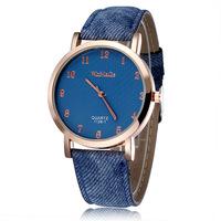 2015 New Women Quartz Dress Wristwatches Jeans Style Pu Strap Rose Gold Alloy Case Analog Fashion Watches Relogio Feminino 2163