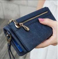 Fashion 2015 New Luxury Women Wallets Dull Polish Leather Desigual Double Zipper Purse Wristlet Clutch Bag Carteira Feminina