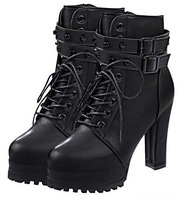 2014 normic fashion lacing ultra high thick heel martin leather boots