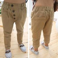 Retail 1 pcs New 2015 Pure retro 4 buttons woven trousers casual trousers harem pants WW12290056J
