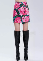 Free shipping 2015 New Vintage Style ladies elegance hand drawn flower skirts women's elegance summer Empire A-Line Mini skirts