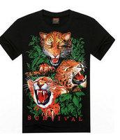Hot 2015 Spring Summer Basic Tee Men Women Personality Soft Feel Streetwear 3D Animal Tiger T Shirt Cotton Hip Hop T-Shirt