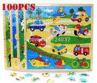 Baby Toys Child Educational 100Pcs Puzzle Wooden Toys Child Intelligence Puzzle Kids Toy Animal/Vehicle/Fish Large Puzzle Gift