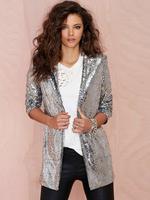 2015 spring women coat slim Silver paillette Jacket Fashion shine Sequins blazer female suit jackets cardigan Good Quality