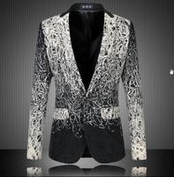 Fashion 2014 New Design Men Blazer Floral Suit Personality Casual Blazer For Men Blazer Slim Fit Jacket Men Plus Size 5XL 6XL