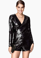 Macacao Feminino 2015 Spring Long Sleeve Jumpsuit Casual Bodysuit Black Sequins Design Playsuit Overalls for Women Sexy Rompers