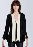 New Fashion Ladies' Jacket coat Black White Stripe Spliced Contrast color tassel outwear casual slim brand designer tops