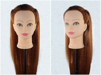 2015 50% Real Human Long Hair Hairdressing Head Training Mannequin Head Clamp