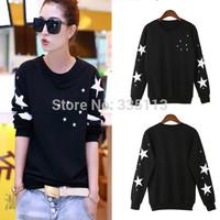 2015 Casual O Neck Pullover Star Printed Sweatshirt Women Hoody Long Sleeve Black Hoodies Sport Tracksuit Plus Size