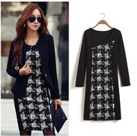 New 2015 Winter Autumn Women Long-Sleeve Print Dress Fashion Houndstooth Dress Casual Ladies Elegant Office Dresses