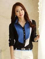 2015 spring New Fashion Korean Style Color Block Collar Long-sleeve Chiffon Blouse
