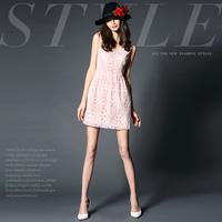 14122515 spring and summer fashion handmade fashion cutout slim V-neck flower patchwork silk one-piece dress