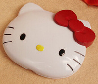 9cm Freeshipping 2014 makeup mirror Hello kitty Mirror Women cosmetic  Silver plated plastic Girls make-up Folder Mirror KT15