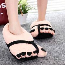 Pretty Funny Winter Indoor Toe Big Feet Warm Soft Plush Slippers Novelty Gift Adult Shoes Black Slipper Unisex 26CM(China (Mainland))