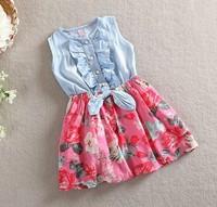 New summer Girls cowboy kids party dress Girls summer dress Baby girls dress free shipping!