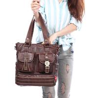 Women's lather-bag messenger bag  big vintage bag  fashion preppy style stamp one shoulder bags women leather handbags tote