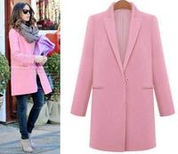 Street Fashion 2015 Europe Designer Women Winter Woolen Cashmere Long Pea Coat & Jacket Turn-down Collar Candy Colors  1412282