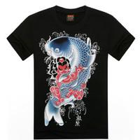 Hot 2015 Summer Men Women Sport Tee Personality Soft Feel Streetwear 3D T Shirt Cotton Hip Hop Fish Indians Eagle War T-Shirt