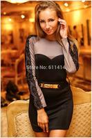 LD032,Free shipping Euro fashion lace long-sleeve  round collar stitching dress,make thin dress