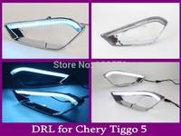 2pcs/set Auto Car LED Front Running Car Lamps Led Fog Light DRL For Chery Tiggo 5 (White + blue) free shipping