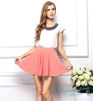Sweet Pleated Skirt Women Summer Casual Skirt Female Chiffon Skirt Multicolor Free Shipping