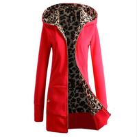 2015 Newly Fashion Women Ladies Long Sleeve Hoodies Sweatshirt Leopard Pattern Slim Fit Jacket Outerwear