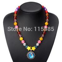 1pc retail cute FROZEN ANNA ELSA baby girl necklace chain kid Jewelry Beads beaded children gift girls accessories
