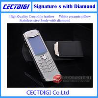 Luxury Signature s white ceramic Stainless steel body shine diamond VIP phone crocodile leather luxury phone free ship