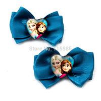 4pairs/lot 8pcs Frozen Anna Elsa girl hair clips bow Hairpins Hair Clip headwear baby children gift hairband girl accessory