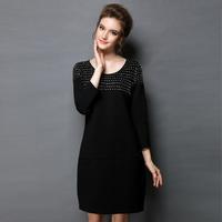 High Quality 2014 New Women's Winter Dress Fashion Vintage Black Beading Slim Casual Dress Full Sleeve Plus Size Dress