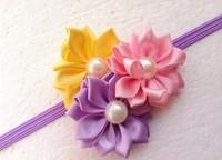 Trail order pearl centre triple satin rosettes flower headbands satin ribbon flower Thin Elastic headbands accesories 10PCS