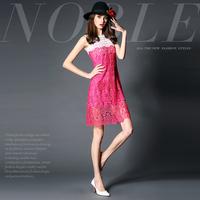 14122512 fashion high quality lace flower cutout aesthetic slim one-piece dress basic shirt