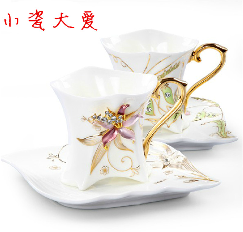 Porcelain enamel lovers cup bone china coffee cup orchid flower with diamond fashion lovers bone china