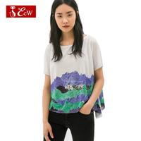 ECW New Fashion 2015 Women T shirt Chiffon Casual Loose Splice T shirt Flower Print Irregular skirt T shirt
