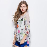 The new 2015 bud cat printing long sleeve female T-shirt render unlined upper garment#W4455