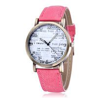 Letter Dial Women Dress Watches Quartz Movement Vintage Bronze Alloy Case PU Strap Fashion Ladies Clock 2015 New Wristwatches