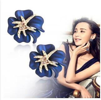 Wedding Jewelry Women Earrings Luxury 24K Rose Gold Plate Genuine SWA Elements Austrian Crystal Enamel Flower Earring Top Grade(China (Mainland))