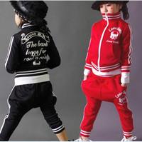 Newest Autumn  child kid  clothing set Skull Heads Skeleton rhinestones  long suit  twinset   casual sportswear C061