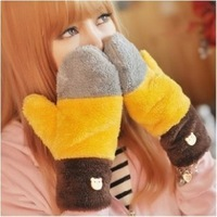 2015 Hot Sale Women 's Korean Cute Candy-colored Colorful Autumn And Winter Warm Gloves Padded Plush Mittens #M00266