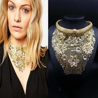 European NEW Brand Statement Gold Tassel Flower Vintgae Pearl Crystal Collar Flower Necklace Good Quality Pendants Necklace 9900