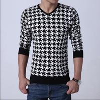 2014 New Mens Brand Sweaters V-neck Pullover Men Knitted Slim Plover Case Sweater