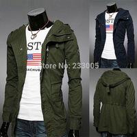 Hot ! 2015 New Stylish Manteau Homme Trench Coat Men Slim Fit Casual Hoody Peacoat Cheap Mens Pea Coat With Hood Overcoat M-XXL