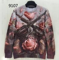 [Magic] Decay pink Rose double guns Europe and America Hot style 3d sweatshirt men/women hoodie sweatshirts causl 9107 free ship