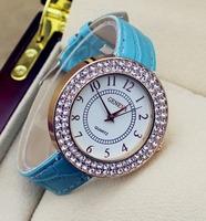 2015 Wholesale 9 Colour New Geneva Casual Watch Women dress crystal Watch Quartz Fashion Lady leather Rhinestone gift watches