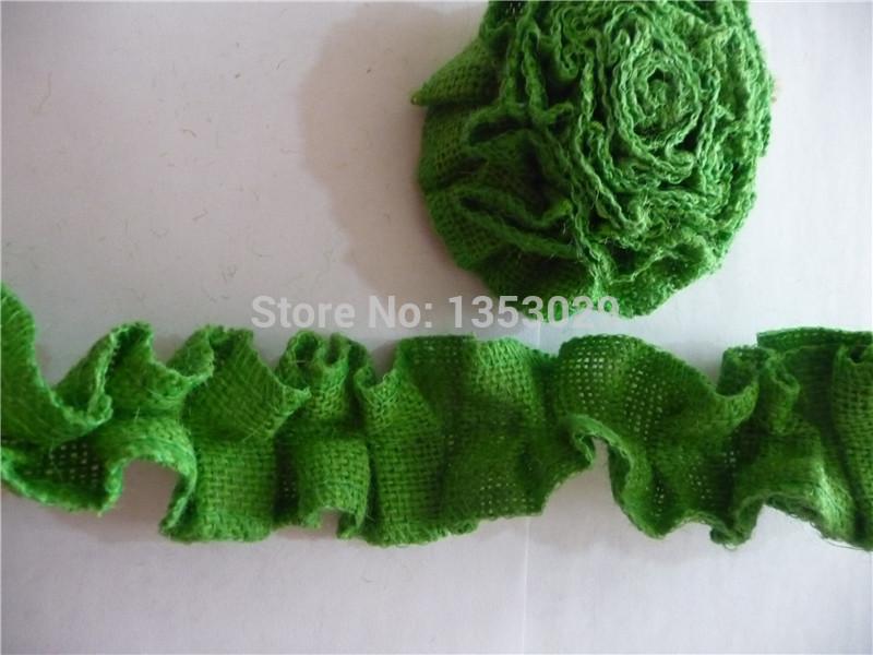 Free Shipping 1Meters x 5cm Spring Country Wedding Handmade Green Ruffled Burlap Fabric Ribbon Trim Natural Jute Flower Ribbon(China (Mainland))