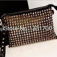 Fashion Punk studs day clutches wallet women leather bag purses ladies' evening bag handbags Free Shipping dropship
