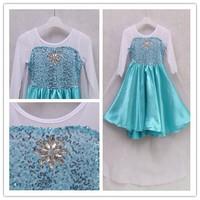 Retail 1Pc New 2015 Elsa Dress Custom made Movie Cosplay Dress Anna Girl Dress Frozen Princess Elsa Costume