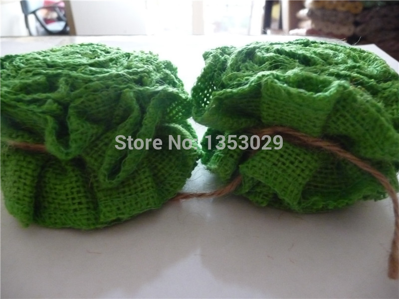 Free Shipping 1Meters x 5cm Handmade Green Color Spring Wedding Ruffled Burlap Fabric Ribbon Trim Natural Jute Flower Ribbon(China (Mainland))