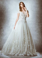 New 2015 Zuhair A Line Wedding Dresses V Neck Short Sleeve Applique Lace Sweep Train High Quality Exquisite Bridal Gowns